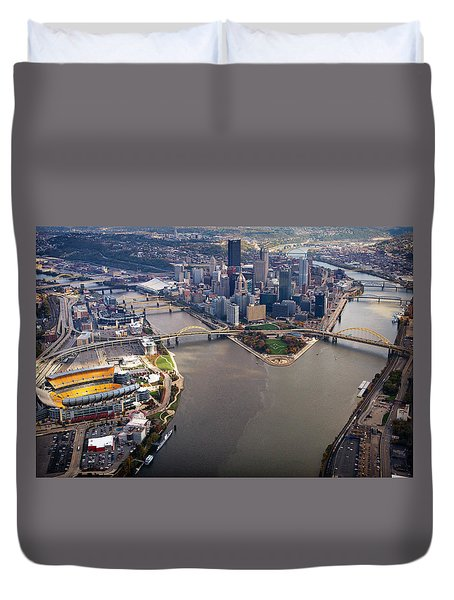 Above Pittsburgh In  Color  Duvet Cover