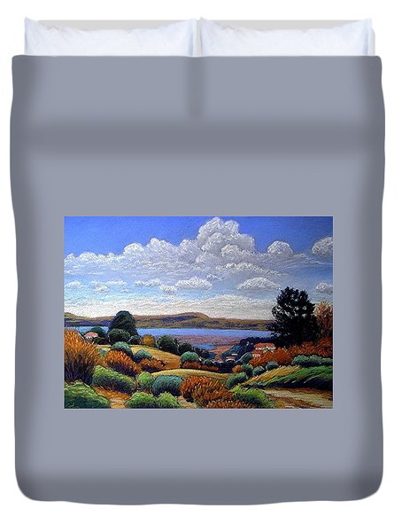Duvet Cover featuring the painting Above San Mateo by Gary Coleman