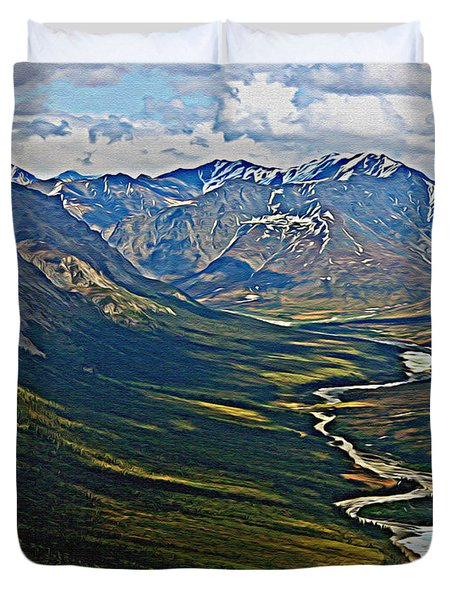 Duvet Cover featuring the painting Above The Arctic Circle by John Haldane