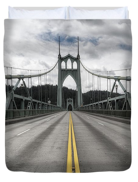 Above The Cathedral Duvet Cover by Ryan Manuel