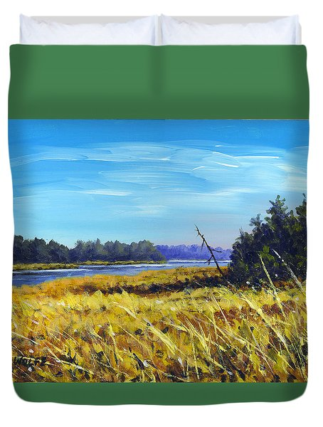 Above The Dam Sketch Duvet Cover