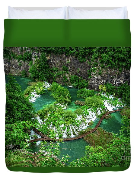 Above The Paths And Waterfalls At Plitvice Lakes National Park, Croatia Duvet Cover