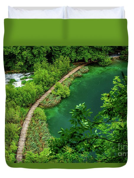 Above The Paths At Plitvice Lakes National Park, Croatia Duvet Cover