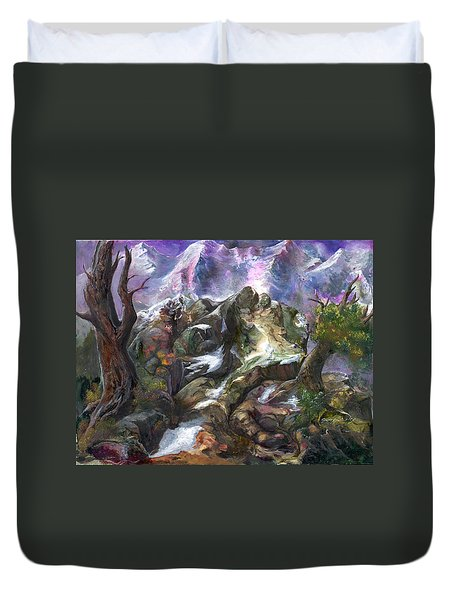 Duvet Cover featuring the painting Above The Timberline by Sherry Shipley
