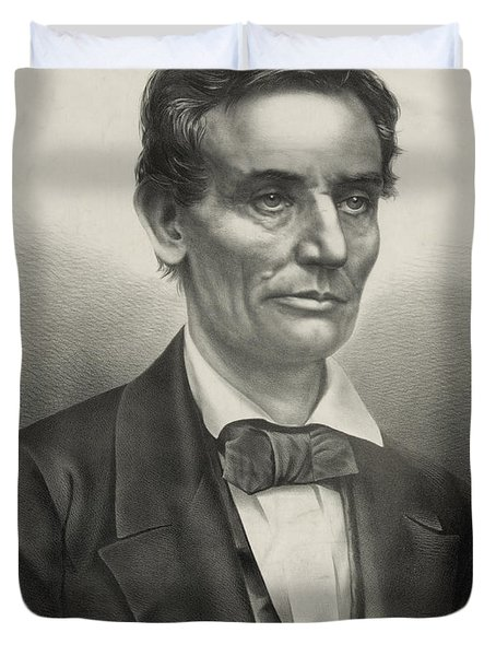 Duvet Cover featuring the photograph Abraham Lincoln - As A Presidential Candidate by International  Images