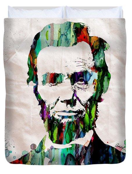 Abraham Lincoln Art Watercolor Duvet Cover