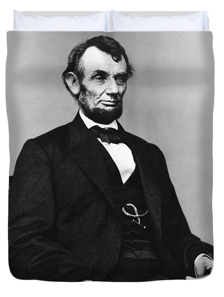 Abraham Lincoln Portrait - Used For The Five Dollar Bill - C 1864 Duvet Cover by International  Images
