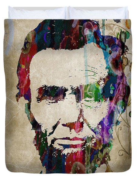 Abraham Lincoln Watercolor Modern Abstract Pop Art Color Duvet Cover