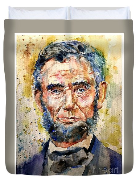 Abraham Lincoln Watercolor Duvet Cover