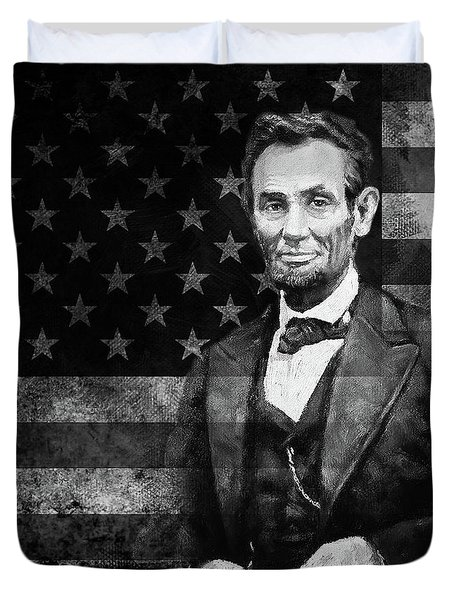 Abraham Lincoln With American Flag  Duvet Cover by Gull G