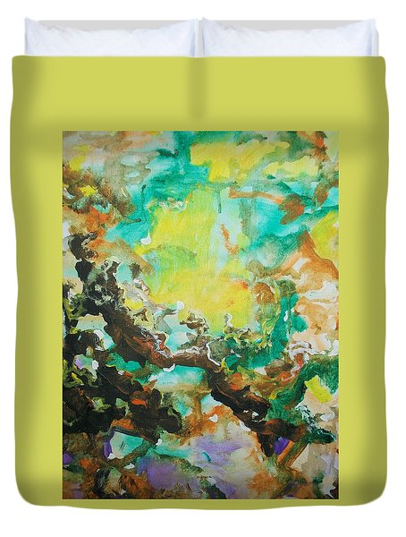 Duvet Cover featuring the painting Abstract #014 by Raymond Doward