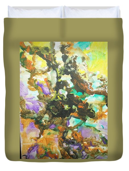 Duvet Cover featuring the painting Abstract #015 by Raymond Doward