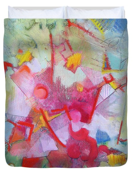Abstract 2 With Inscribed Red Duvet Cover by Susanne Clark