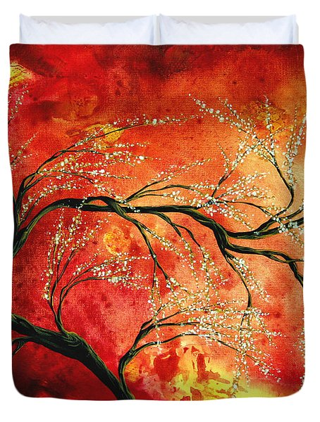 Abstract Art Floral Tree Landscape Painting Fresh Blossoms By Madart Duvet Cover