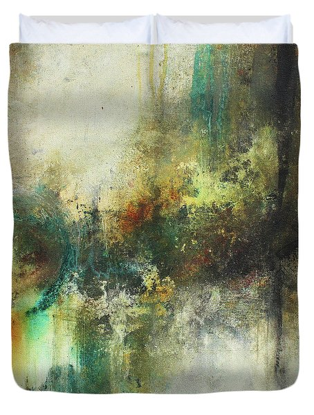 Duvet Cover featuring the painting Abstract Art With Blue Green And Warm Tones by Patricia Lintner