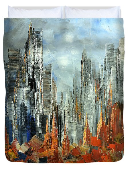 Duvet Cover featuring the painting Abstract Autumn by Tatiana Iliina