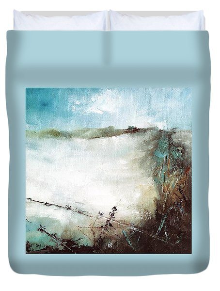Abstract Barbwire Pasture Landscape Duvet Cover by Michele Carter