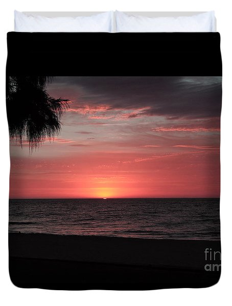 Abstract Beach Palm Tree Sunset Duvet Cover