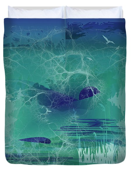 Abstract Blue Green Duvet Cover