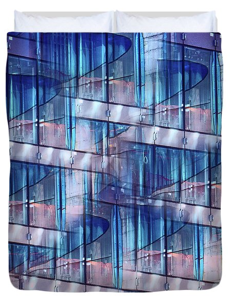 Abstract Blue Skyscraper Duvet Cover