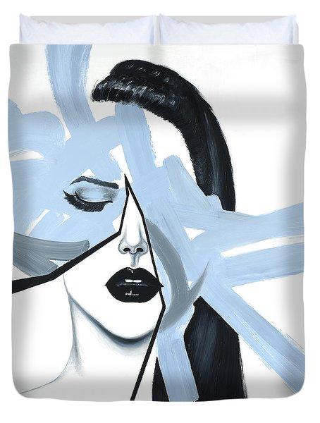 Abstract Blue Woman Portrait Duvet Cover