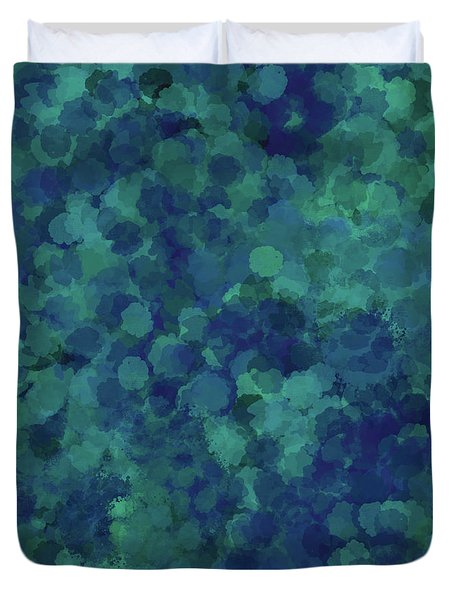 Duvet Cover featuring the mixed media Abstract Blues 1 by Clare Bambers