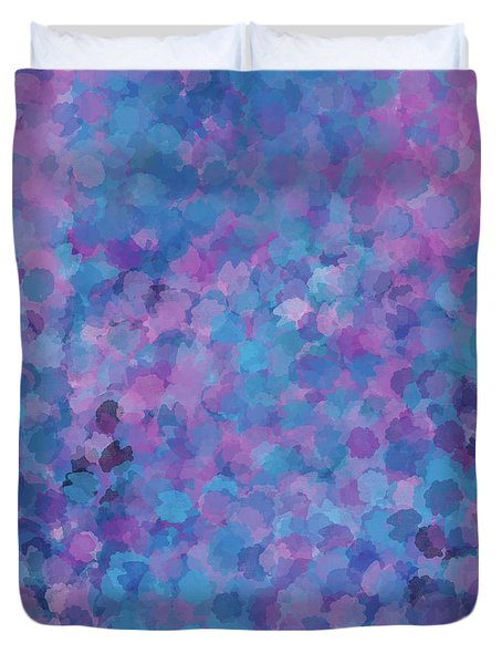 Duvet Cover featuring the mixed media Abstract Blues Pinks Purples 3 by Clare Bambers