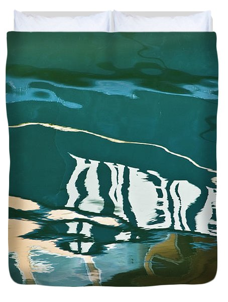 Abstract Boat Reflection Duvet Cover