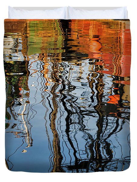 Abstract Boat Reflections Iv Duvet Cover