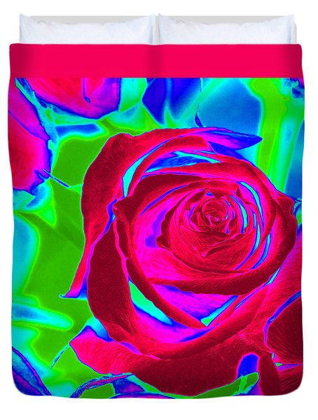 Burgundy Rose Abstract Duvet Cover