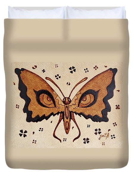 Abstract Butterfly Coffee Painting Duvet Cover by Georgeta  Blanaru