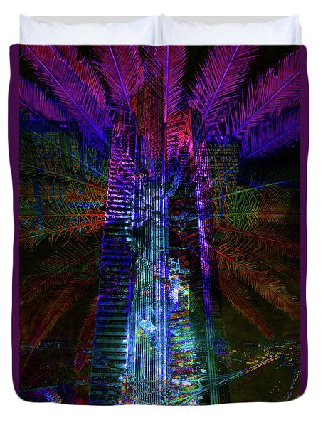 Abstract City In Purple Duvet Cover by Barbara Dudzinska