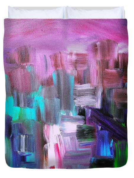 Duvet Cover featuring the painting Abstract Cityscape I by Pristine Cartera Turkus