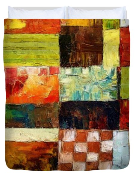 Abstract Color Study With Checkerboard And Stripes Duvet Cover by Michelle Calkins