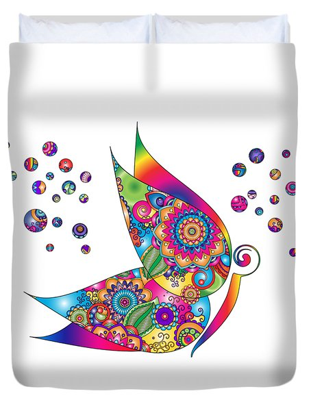 Abstract Colorful Butterfly Duvet Cover