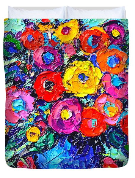 Abstract Colorful Wild Roses Modern Impressionist Palette Knife Oil Painting By Ana Maria Edulescu  Duvet Cover