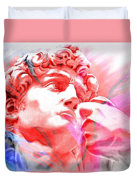 Duvet Cover featuring the painting Abstract David Michelangelo 1 by J- J- Espinoza