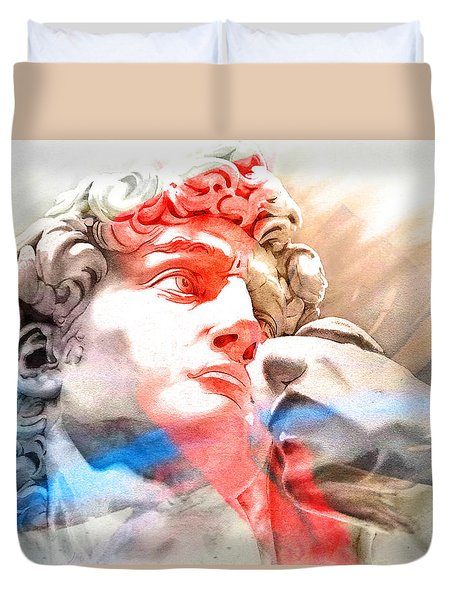 Duvet Cover featuring the painting Abstract David Michelangelo 2 by J- J- Espinoza
