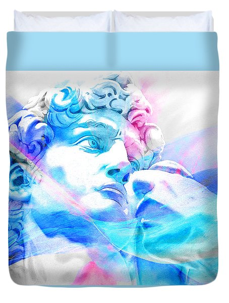 Duvet Cover featuring the painting Abstract David Michelangelo 3 by J- J- Espinoza