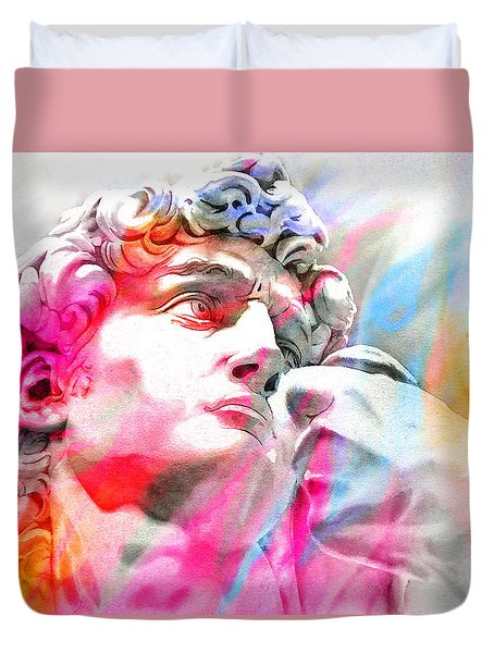 Duvet Cover featuring the painting Abstract David Michelangelo 4 by J- J- Espinoza