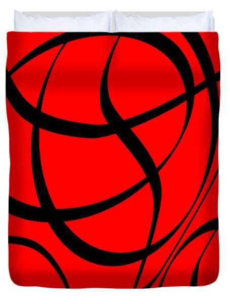 Abstract Design In Red And Black Duvet Cover