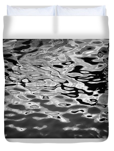 Abstract Dock Reflections I Bw Duvet Cover