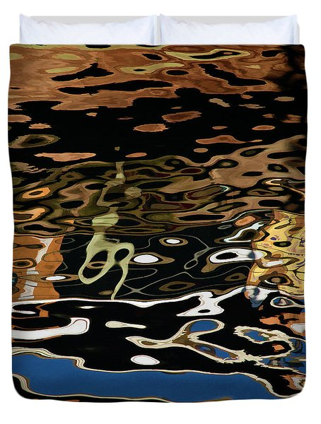 Abstract Dock Reflections II Color Sq Duvet Cover