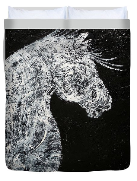Abstract Draft Horse Black And White Painting Duvet Cover