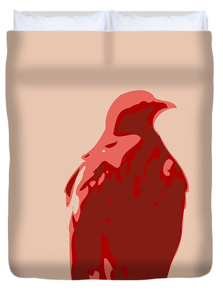 Abstract Eagle Contours Red Duvet Cover