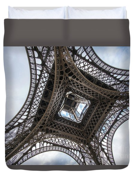Abstract Eiffel Tower Looking Up 2 Duvet Cover
