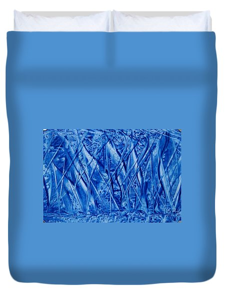 Abstract Encaustic Blues Duvet Cover