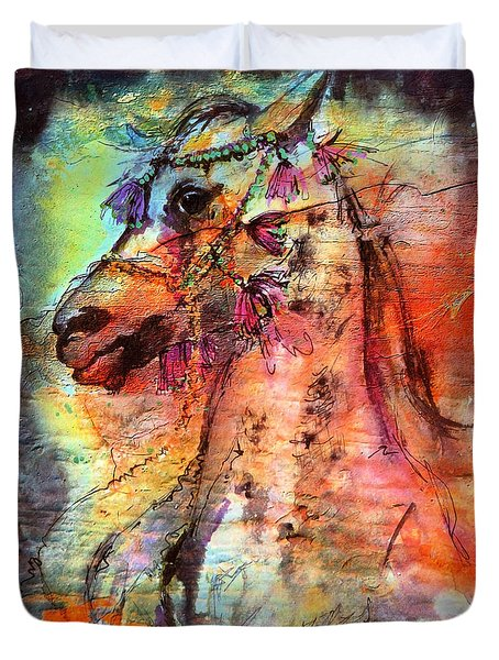 Abstract Expressive Arabian Stallion Art Duvet Cover