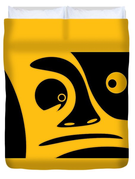 Abstract Face In Gold And Black Duvet Cover
