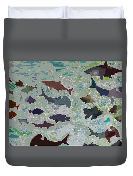 Duvet Cover featuring the painting Abstract Fish by Robert Margetts